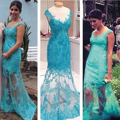 Cap Sleeve Turquoise Lace Evening Dress, Long Sexy Mermaid Cheap Evening Gowns, Formal Party Dress, Lace Prom Dress, Simple Evening Dresses, Evening Dress 2015