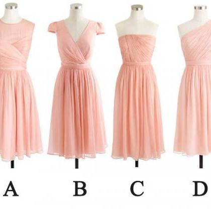Blush Pink Mismatched Bridesmaid Dresses, Short Bridesmaid ...