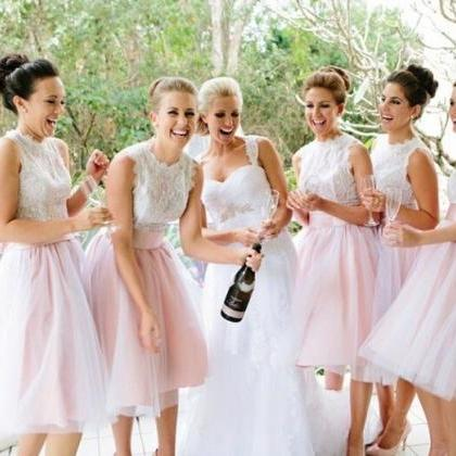 Tulle Short Pink Bridesmaid Dress, Wedding Party Dresses, Cute ...