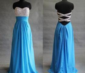 Blue Prom Dress, Sequined Prom Dresses, Backless Prom Dress, Cheap Formal Dresses, Long Prom Dress, Chiffon Evening Dress, Wedding Party Dress, Sparkly Bridesmaid Drresses