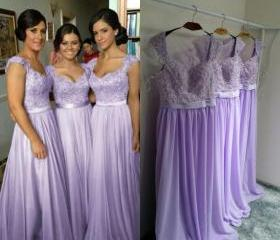 Lavender Long Bridesmaid Dresses Chiffon Bridesmaid Dress
