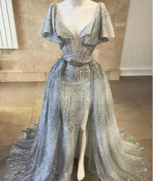 Flare Sleeve Evening Dress, Detachable Skirt Evening Dress, Silver Evening Dress, Evening Dresses 2019, Bling Bling Evening Dress, V Neck Evening Dress, Evening Dresses Long, Women Formal Dress