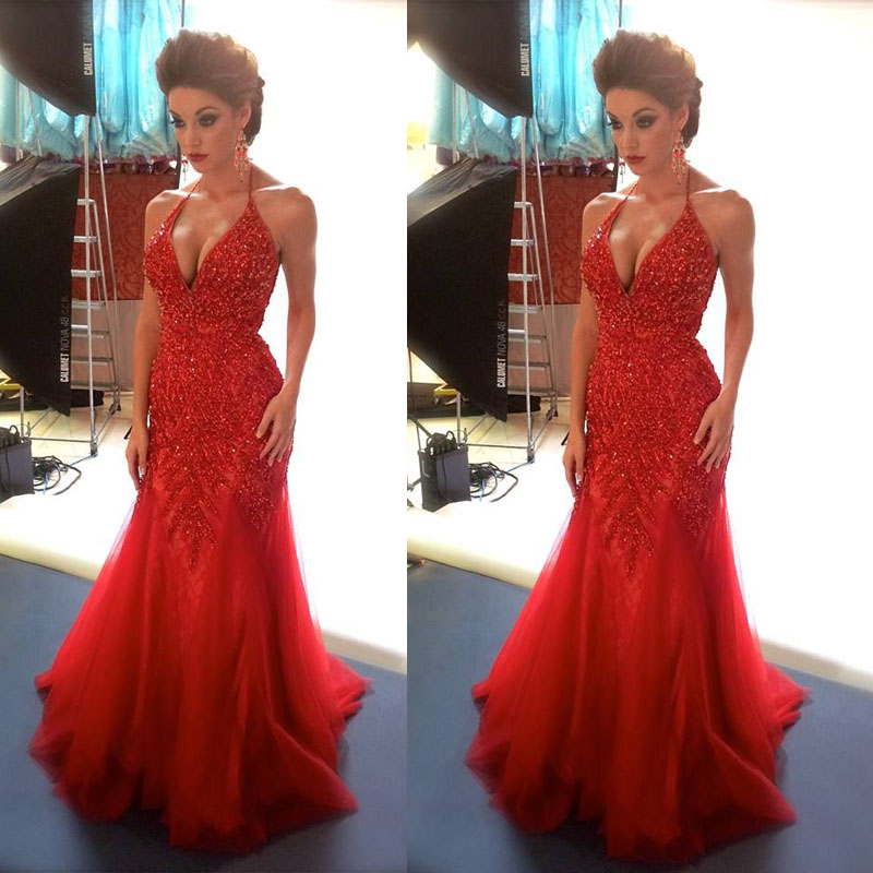 Sexy Red Mermaid Evening Dresses V Neck Party Dresses