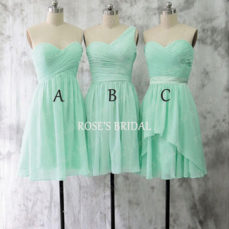Mismatch short mint green bridesmaid dresses chiffon for Short green wedding dresses