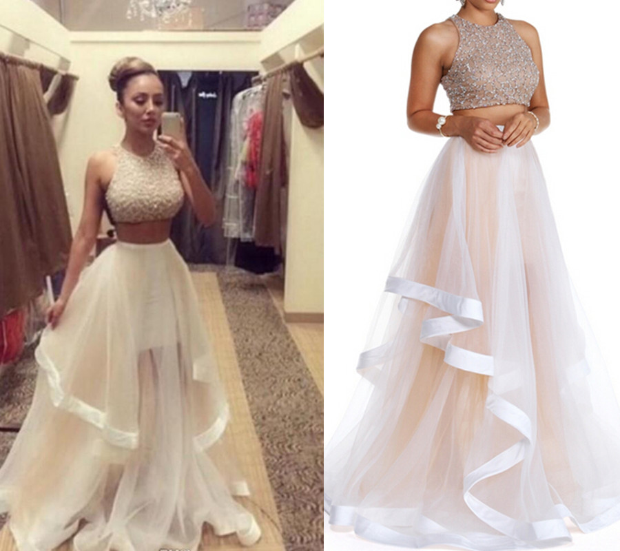 Champagne Prom Dress Two Piece Prom Dresses Long Prom Dress Tulle Prom Gowns Sexy Formal