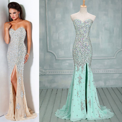 Real Photo Sparkly Long Evening Dress- Luxury Evening Dresses With ...