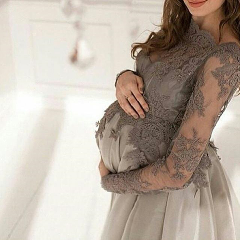 Grey maternity prom dress lace pregnant evening dresses for Long sleeve lace maternity wedding dress