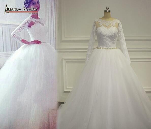 Long sleeve wedding dress lace wedding dress tulle for Cheap lace wedding dresses with sleeves