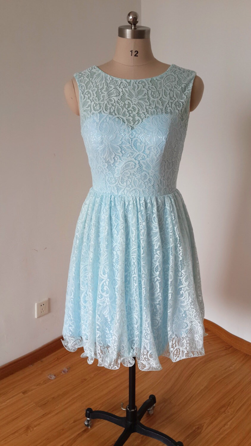 Blue lace bridesmaid dress short bridesmaid dresses for Junior wedding guest dresses for summer