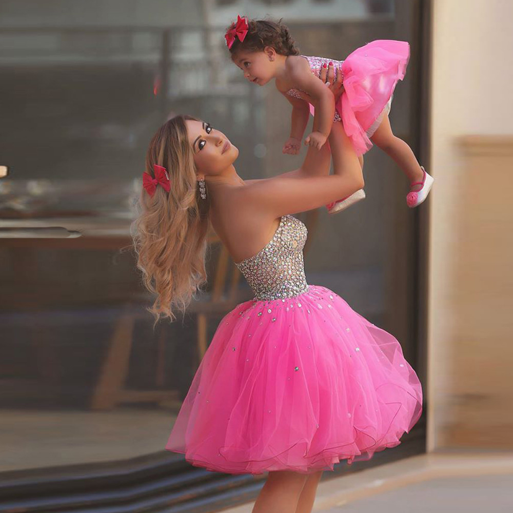 Mother Daughter Matching Dresses Sexy Party Dress Mother And Daughter Dress Pink Homecoming