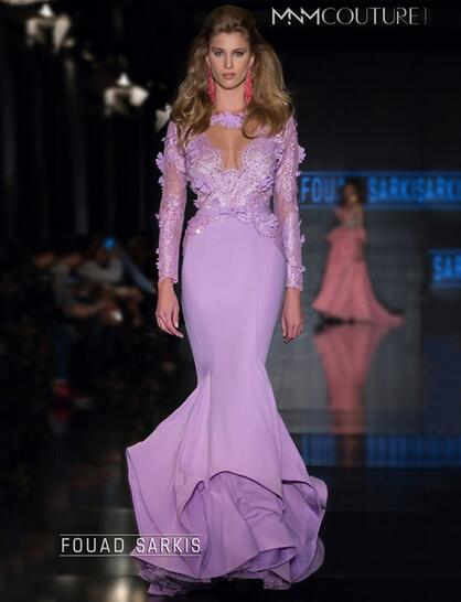 Purple Prom Dress, Mermaid Prom Dress, Long Sleeve Prom Dress ...