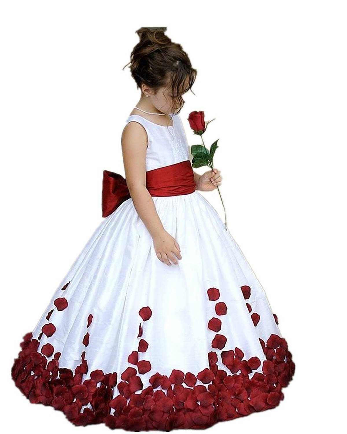 Cute Flower Girl Dress White Flower Girl Dress Handmade Flower Flower Girl