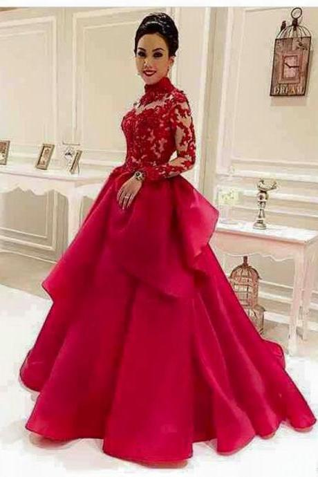 Red Prom Dress, Elegant Prom Dress, Long Prom Dress, Lace Applique Prom Dress, High Neck Prom Dress, Organza Prom Dress, Simple Prom Dress, Cheap Prom Dress, Vestido De Festa, Tierd Prom Dress, Prom Dresses 2017, Women Prom Dress, Cheap Prom Gown