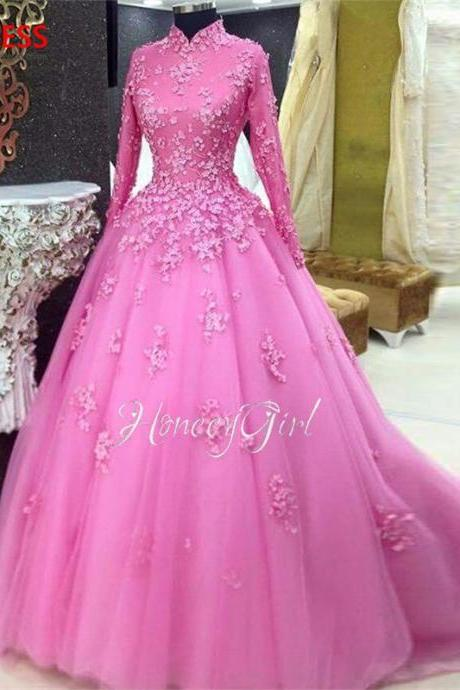 High Neck Prom Dress, Muslim Prom Dress, Elegant Prom Dress, A Line Prom Dress, Hot Pink Prom Dress, Lace Applique Prom Dress, Elegant Prom Dress, Middle East Style Prom Dress, Prom Dresses 2018