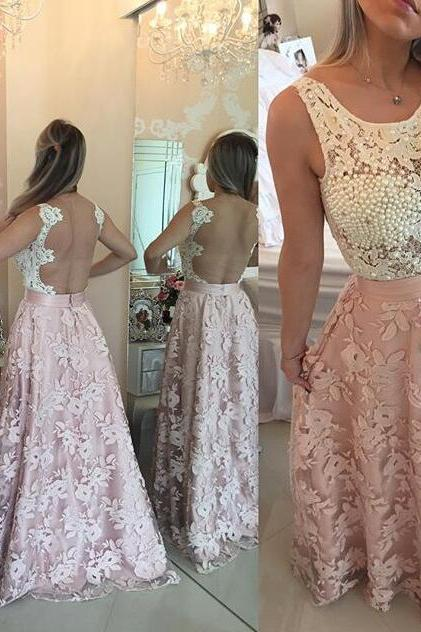Pink Prom Dress, Lace Prom Dress, Peals Prom Dress, A Line Prom Dress, Elegant Prom Dress, Prom Dresses 2018, Women Formal Dress, Cheap Prom Dress, Backless Prom Dress, Sleeveless Prom Dress