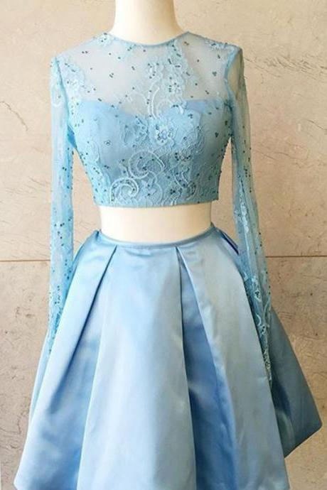Two Piece Prom Dresses, Blue Prom Dress, Long Sleeve Prom Dress, Short Prom Dress, Satin Prom Dress, Homecoming Dresses 2018, Cheap Graduation Dresses, Cocktail Dresses, Lace Prom Dress, Prom Dresses 2018