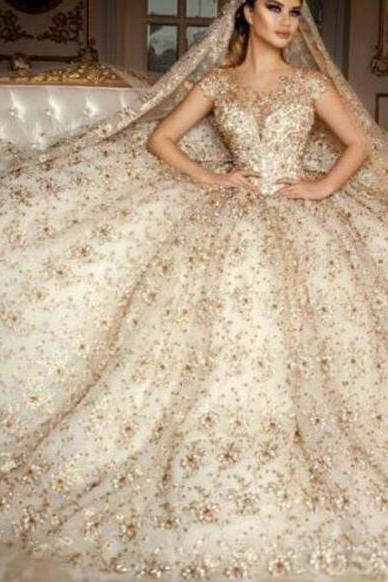 Luxury Wedding Dress, Western Style Wedding Dress, Wedding Ball Gown, Lace Applique Wedding Dress, Gorgeous Wedding Dress, Crystal Wedding Dress, Wedding Dresses 2018, Vestido De Novia