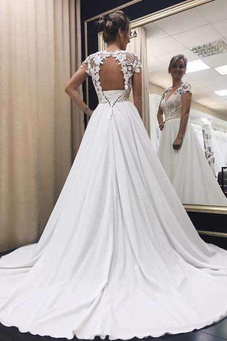Cap Sleeve Wedding Dress, Lace Applique Wedding Dress, Wedding Dresses Simple, Chiffon Beach Wedding Dress, 2018 Wedding Dresses, Cheap Wedding Dress, Vestido De Novia