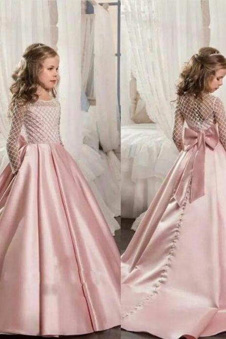 Pink Flower Girl Dress, Long Sleeve Flower Girl Dress, Satin Flower Girl Dress, Kids Prom Dress, Little Girl Pageant Dresses, Floor Length Flower Girl Dress