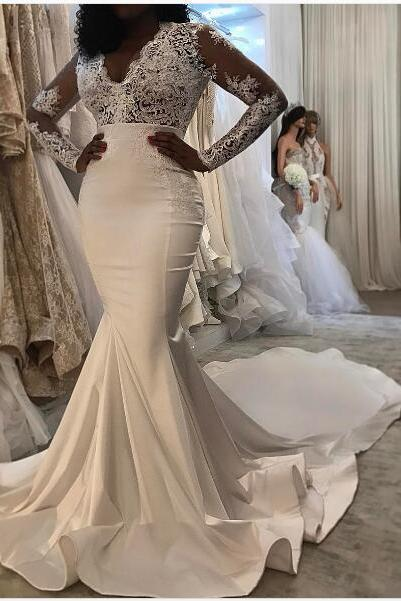Mermaid Wedding Dress, Lace Applique Wedding Dress, Long Sleeve Wedding Dress, V Neck Wedding Dress, Elegant Wedding Dress, Cheap Bridal Dress, Vestido De Novia