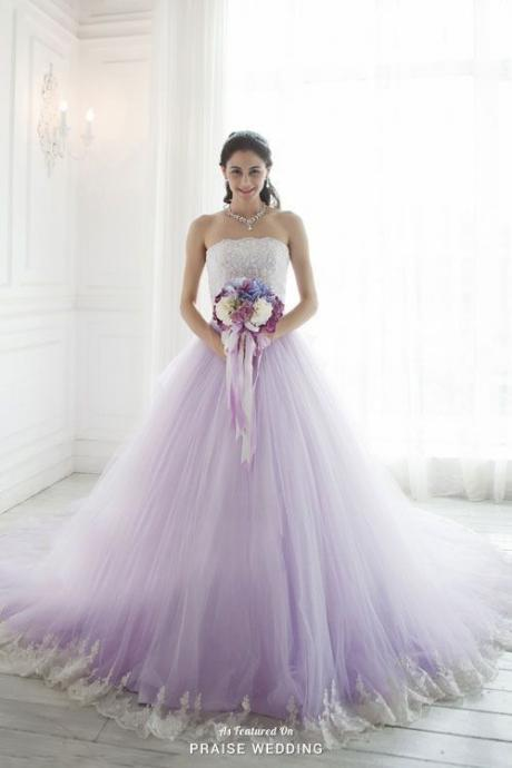 Purple Wedding Dress, Beaded Wedding Dress, Lace Applique Wedding Dress, Vestido De Novia, Elegant Wedding Dress, Wedding Ball Gown, Tulle Wedding Dress, Robe De Mariage