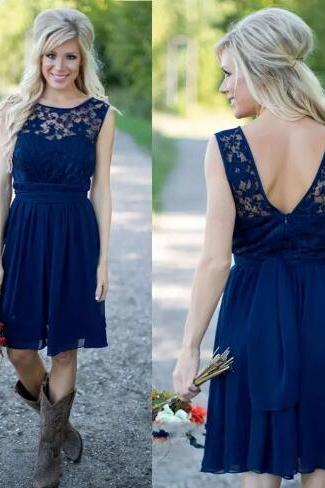 Lace Bridesmaid Dress, Short Bridesmaid Dress, Navy Blue Bridesmaid Dress, Cheap Bridesmaid Dress, Wedding Party Dress, Junior Bridesmaid Dress, Bridesmaid Dresses 2018