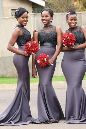 Gray Bridesmaid Dress, Mermaid Bridesmaid Dress, Beaded Bridesmaid Dress, Bridesmaid Dresses Long, Cheap Bridesmaid Dress, Wedding Party Dress, Elegant Bridesmaid Dress, 2018 Bridesmaid Dress