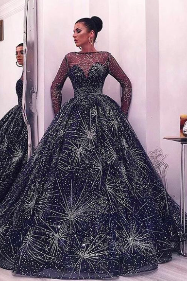 Luxury Prom Dress, Navy Blue Prom Dress, Ball Gown Prom Dress, Long Sleeve Prom Dress, Shinny Prom Dress, Prom Dresses 2019, New Arrival Prom Dress, Sweet 18 Dresses