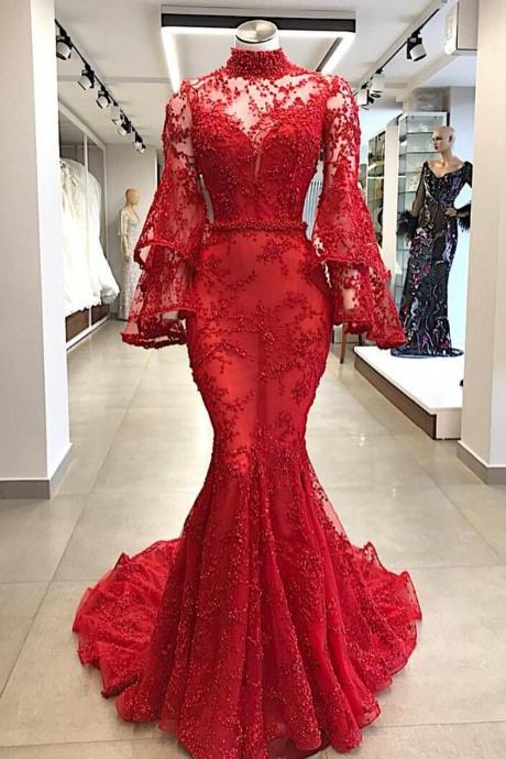 High Neck Evening Dress, Red Evening Dress, Mermaid Evening Dress, 2019 Evening Dress, Real Photo Evening Dress, Lace Applique Evening Dress, Affordable Evening Dress, Luxury Evening Dress, Flare Sleeve Evening Dress