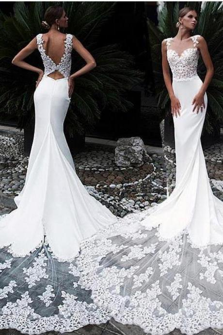 Mermaid Wedding Dress, Lace Applique Wedding Dress, Sexy Bridal Dress, Wedding Dresses 2019, Elegant Wedding Dress, Cheap Wedding Dress, Bridal Dresses 2019, Vestido De Novia