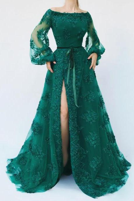 Green Prom Dress, Lace Applique Prom Dress, Elegant Prom Dress, Prom Dresses 2019, Vestido De Festa, A Line Prom Dress, 3D Flowers Prom Dresses, Robe De Soiree