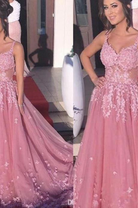 Pink Prom Dress, V Neck Prom Dress, Lace Applique Prom Dress, Prom Dresses 2019, A Line Prom Dress, Senior Formal Dress, Prom Gowns, Tulle Prom Dress, 3D Flowers Prom Dress