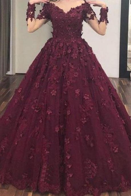Off the Shoulder Prom Dress, 3D Flowers Prom Dress, Lace Applique Prom Dress, Burgundy Prom Dress, Prom Gown, Ball Gown, Elegant Prom Dress, Prom Dresses 2019, Robe De Soiree