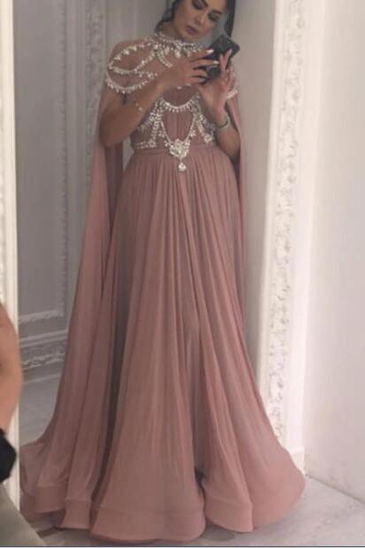 High Neck Prom Dress, A Line Prom Dress, Dusty Pink Prom Dress, Crystals Prom Dress, Chiffon Prom Dress, Dubai Fashion Dress, Plus Size Prom Dress, Prom Dresses with Cape, Pregnant Prom Dress