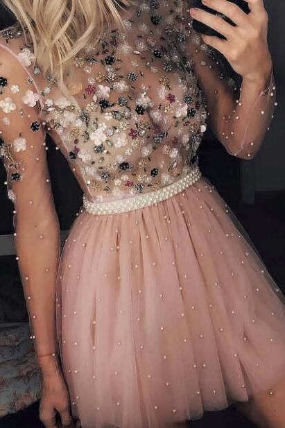 Dusty Pink Prom Dress, Beaded Prom Dress, Short Prom Dress, Prom Dresses 2019, Long Sleeve Prom Dress, Luxury Prom Dress, Prom Dresses for Women, Sexy Formal Dress, Cocktail Party Dress