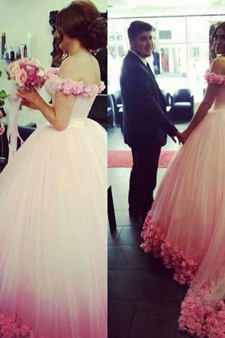 Saudi Arabia Wedding Dreses, White Wedding Gowns, Pink Flowers Wedding Gown, 2016 Ball Gown Bridal Dresses. Said Mhamad Bridal Gowns, Off the Shoulder Vestidos de Noiva