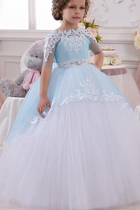 Ball Gown Little Flower Girls Dresses, Sheer Crew Little Girls Pageant Dresses, Ball Gown Girls Party Dresses, Short Sleeve Little Girls First Communion Dresses, Girls Christmas Dresses