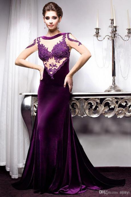 Purple Prom Dresses, Sheer Evening Gowns, Mermaid Prom Gowns, Long Sleeve Party Dresses, New Arrival Prom Gowns, Velvet Party Dresses