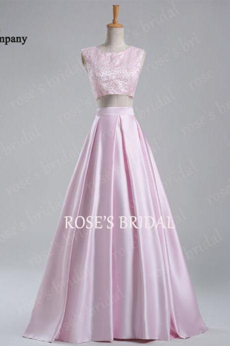 Pink Two Piece Prom Dresses, Beaded Prom Dress, Satin Prom Dress, 2 Piece Prom Dresses, A Line Prom Dress, Long Prom Dress, Elegant Prom Dress, Formal Dresses 2016, Cheap Prom Dress, Evening Gowns