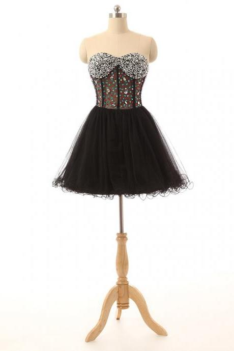 Sparkly Homecoming Dress, Black Homecoming Dress, Short Homecoming Dress, Sexy Homecoming Dress, See Through Homecoming Dress, Cocktail Party Dress, Puffy Prom Dress, Rhinestones Party Dresses