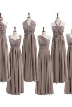 Gray Gradient Bridesmaid Dress, Long Bridesmaid Dress, Chiffon Bridesmaid Dress, Elegant Bridesmaid Dress, 2016 Bridesmaid Dresses, Grey Bridesmaid Dress, Formal Party Dress