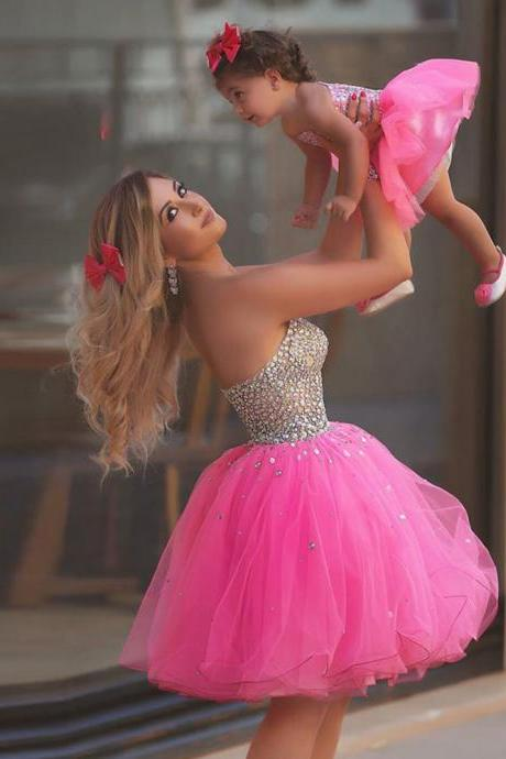 Mother Daughter Matching Dresses, Sexy Party Dress, Mother And Daughter Dress, Pink Homecoming Dress, Short Homecoming Dress, Cocktail Dress, Sparkly Party Dress