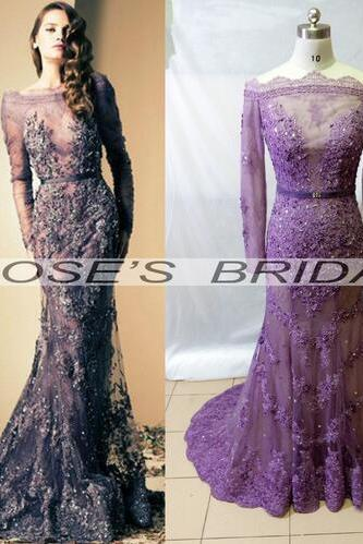 Grape Purple Evening Dress, Top Quality Evening Dress, Mermaid Evening Dress, Beading Evening Dress, Lace Evening Dress, Long Sleeve Evening Dress, Sheer Back Evening Dress, Gorgeous Evening Dress, Affordable Evening Dress, Evening Gowns 2016, Formal Dresses Evening
