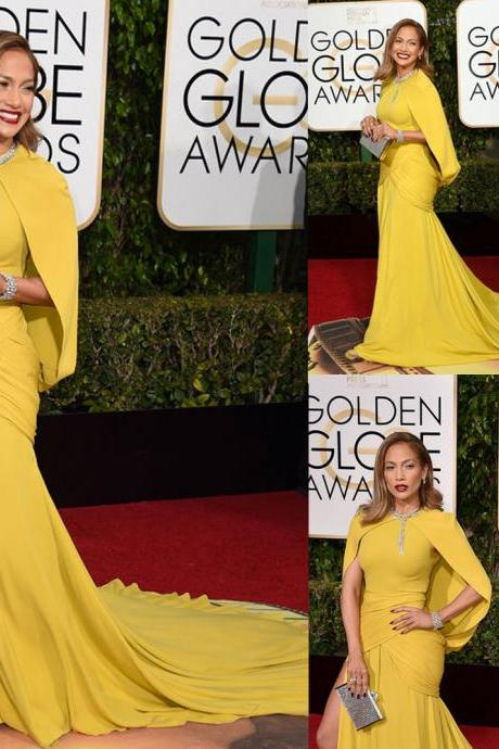 73th Golden Globe Awards Celebrity Dresses, Jennifer Lopez Red Carpet Dress, Yellow Formal Dresses, Long Evening Dress, Cheap Celebrity Dress, Saudi Arabic Evening Dress, Elegant Evening Dress, 2016 Formal Dresses