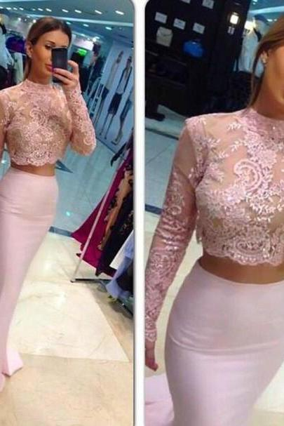 2 Piece Prom Dresses, High Neck Prom Dress, Pink Prom Dress, Mermaid Prom Dress, Long Prom Dress, Sexy Evening Dress, Long Sleeve Prom Dress, Lace Evening Dress, Cheap Formal Dress, 2016 Evening Dress