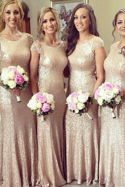 Gold Sequin Bridesmaid Dress, Cap Sleeve Bridesmaid Dress, Long Bridesmaid Dress, Cheap Bridesmaid Dress, Formal Party Dress, Mermaid Bridesmaid Dress, Wedding Party Dresses