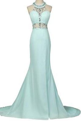 Two Piece Prom Dresses, Tiffany Blue Prom Dresses, Chiffon Prom Dresses, Long Prom Dresses, Rhinestones Prom Dresses, Elegant Prom Dresses, High Neck Prom Dresses, Mermaid Prom Dresses, Prom Dresses 2016