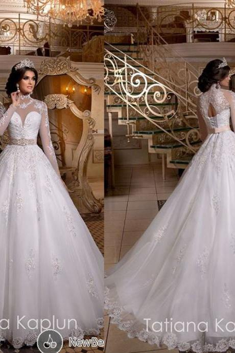 High Neck Wedding Dress, White Wedding Dress, Lace Wedding Dress, Rhinestones Wedding Dress, Long Sleeve Wedding Dress, Elegant Wedding Dress, Tulle Wedding Dress, Cheap Bridal Dress, Wedding Dress 2016
