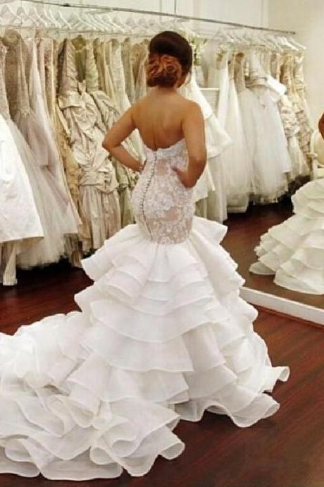 Chapel Train Wedding Dress, Mermaid Wedding Dress, Elegant Wedding Dress, Lace Wedding Dress, Cheap Bridal Gowns, Sexy Wedding Dress, 2016 Wedding Dresses
