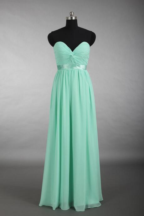 Long Bridesmaid Dress, Mint Green Bridesmaid Dress, Sweetheart Bridesmaid Dress, Elegant Bridesmaid Dress, Chiffon Bridesmaid Dress, Wedding Guest Dresses, 2016 Bridesmaid Dresses